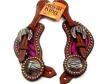 "Royal King medium oil finish raspberry zebra ""hair on"" spur straps horse tack"