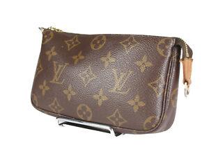 LOUIS VUITTON Mini Pochette Accessoires Monogram Canvas Leather Hand Bag LP4665