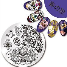 SKull Rose Pattern Nail Art Stamping Plates Image Manicure Stamp Templates DIY