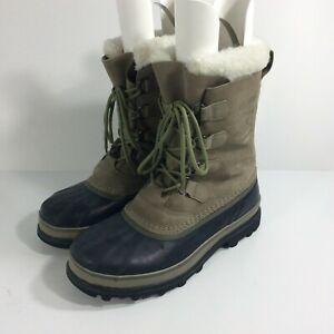 Sorel Caribou Men's Size 10.5 Olive Green Waterproof Winter Snow Boots