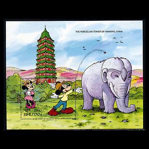Bhutan, Sc #972, MNH, 1991, Disney, S/S, Porcelain Tower, Elephant, SID-A