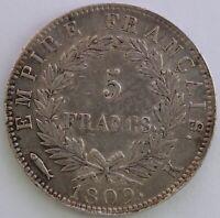 FRANCE 5 FRANCS NAPOLEON EMPEREUR 1809 K TTB