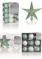 Christmas Tree Decorations Xmas Tree Baubles Glitter Gloss & Matt Green & White
