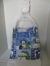 "Christmas Crochet Kitchen Towel ""Snowmen"" ~ **Gift Idea"