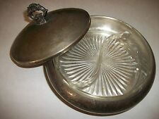 Vintage Round covered Silver Plated Candy Dish with two-sided Glass insert