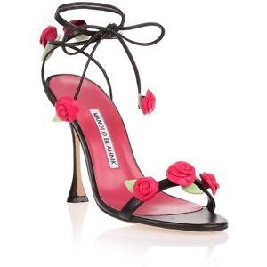 Nuevo Manolo Blahnik XAFIORE Sandalias Negro Rosa Zapatos de Tiras 40.5 41