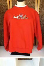 Christmas Cats Red Sweatshirt Women Size S