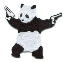 PANDA BEAR wielding pistols guns EMBROIDERED IRON-ON PATCH 3697 banksy FREE SHIP