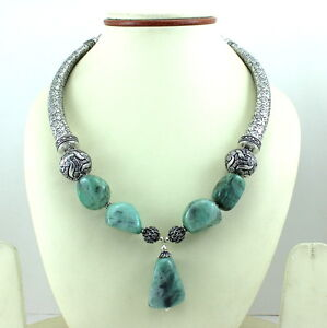 NECKLACE NATURAL EMERALD GEMSTONE BEADED HANDMADE JEWELRY