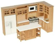 Dolls House Light Oak Modern Fitted Kitchen Furniture Set Miniature 1 12 Scale