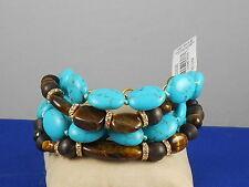 Ralph Lauren Gold SIGNATURE COLLECTION Turquoise Tiger's Eye Wood Bead Bracelet