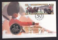 1997 Queen QEII Golden Wedding Anniv Cover Gibraltar Stamps & Coin Royalty Royal