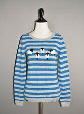 TALBOTS NEW $119 Blue Gray Striped Wool Crew Neck Sweater Petite