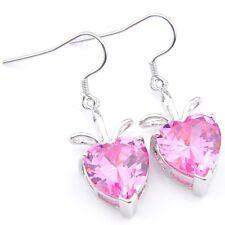 Valentine's Gift Love Heart Pink Topaz Gemstone Silver Dangle Drop Earrings