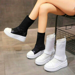 Casual Shoes Women Round Toe Pull On Platform Ankle Boots Fashion Sneakers Punk