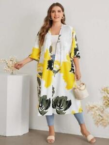 NEW.Gorgeous Plus Size Floral Print Cardigan Jacket Duster Kimino.3XL/SZ20