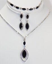 3 Pcs Black W. Silver Rhinestone Dangle Drop Necklace Earrings Bracelet Set 667
