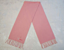 VINTAGE AUTHENTIC DKNY SOLID PINK APPLICACION HEARTS WOMEN'S LONG FRINGE SCARF