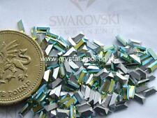 24 x Swarovski 4mm x 2mm Peridot AB silver-foiled #4500 baguettes