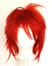 13'' Shaggy Messy w/ Long Bangs Scarlet Red Visual Kei Cosplay Wig NEW