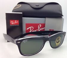 RAY-BAN Sunglasses RB 2132 6052 52-18 NEW WAYFARER Black on Clear w/ G15 Lenses
