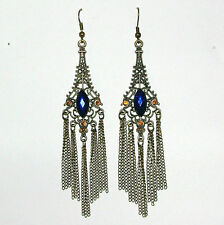 GORGEOUS LONG DEEP BLUE CRYSTAL DARK GOLD PLATED CHANDELIER CHAIN EARRINGS AGC