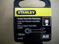 New STANLEY STUBBY  16 mm  Metric Reversible Ratcheting Wrench    16 mm
