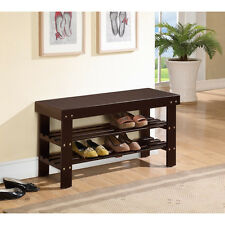 Espresso Solid Wood Storage Bench Shoe Shelf Rack Bed Mud Room Entry Way Seat