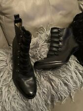 AUTOGRAPH M&S BLACK LEATHER VICTORIAN STYLE SNKLE BOOTS SIZE 8