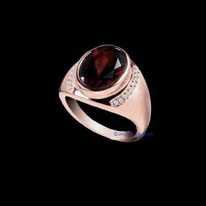 Natural Garnet & CZ Gemstones 925 Sterling Silver Rose Gold Plated Ring For Men
