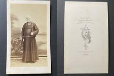 Mieusement, Blois, Prêtre âgé en soutane, circa 1865 vintage cdv albumen print -