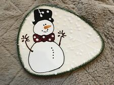 """Expressly Yours Triangle Plate Snowman w/ Bow Tie 1999 Design - 9"""" Across"""