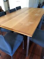 Solid Oak Dining Table with 10 Chairs
