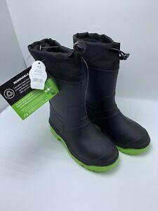 Size 13 Boy's Winter Boots Black/ Green  Wonder Nation Waterproof snow boots