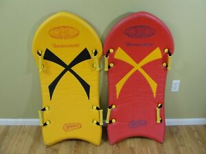 """2 Wham-O Snow Boogie Tomahawk Snow Sled Red Yellow Sleds 44"""" Vintage"""