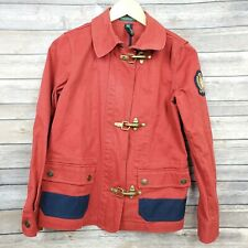 Ralph Lauren Jeans Co Red Navy Denim Fire Man Metal Clasp Military Jacket Sz XS