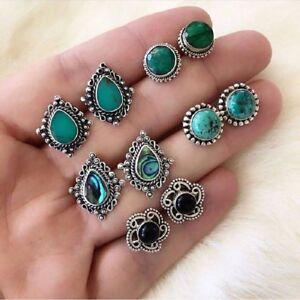 5Pairs/Set Women Vintage Turquoise Earrings Jewelry Ear Stud Boho Earrings Gift
