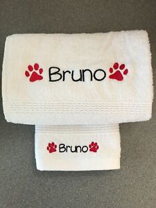 Personalised Embroidered Pet Drying Towel paw print design