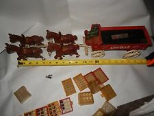 Vintage Champion 4 Horses and Coca-Cola Cart Cast Iron Wagon Driver Toy