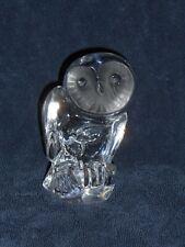 "DAUM FRANCE OWL CRYSTAL Bird FIGURINE SCULPTURE 5"" Paperweight"