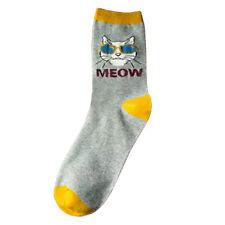 "Cat wearing sunglasses pattern woman socks,""Meow"" cat socks for women,grey color"