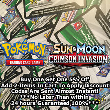 50x Sun And Moon Crimson Invasion Pokemon TCGO PTCGO TCG Online Codes Cards Fast