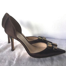 ANNE KLEIN D'ORSAY SATIN PUMPS-SZ 8.5-MADE in ITALY-CHOCOLATE-UNBEATABLE PRICES