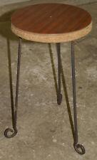 Porte plante artisanal vintage formica pieds fer à béton H 45 cm diam 24 cm