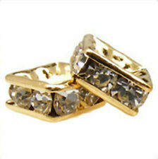 10pcs Gold-plated Rhinestone Squaredelle Beads *All Sizes* *Many Colours*