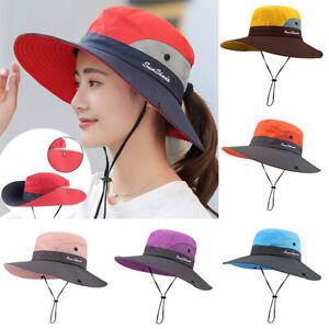 Womens Wide Brim Ponytail Hat UV Sun Visor Protection Summer Beach Floppy Cap AU