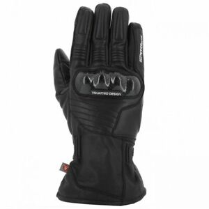 Vquattro Leather Motorcycle Gloves TYPHOON Black - Gants V Quattro - WATERPROOF