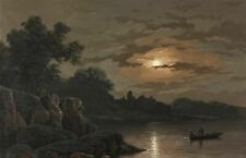 19th century Gouache Drawing - Boat in the Night