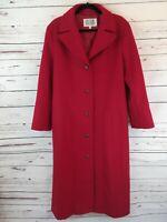 Bill Blass Vintage 80s Red 100% Wool Long Duster Coat Womens Sz 12 VGUC C150