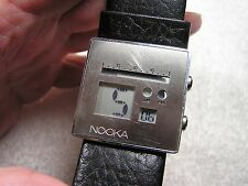 Nooka Zoo Classic Night Watch - SilverCase Black Band - Unique -EUC